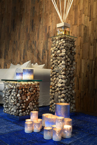 Migani SOLACE PEDESTAL DRIFT WOOD + CRYSTAL TOP