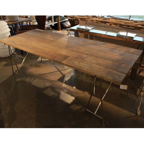 Migani TABLE IN RECYCLED ELM WITH STEEL