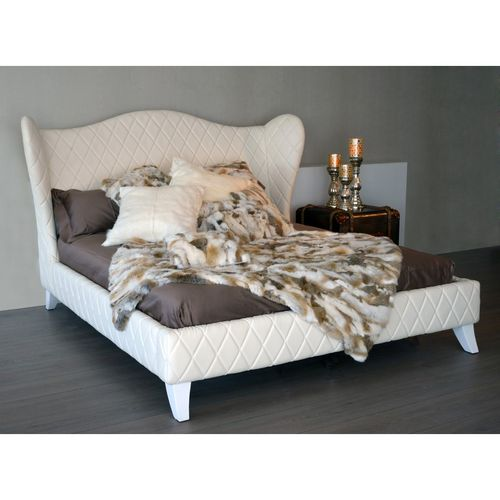 Migani ITALY ROMANCE BED SKAI LEATHER IVORY