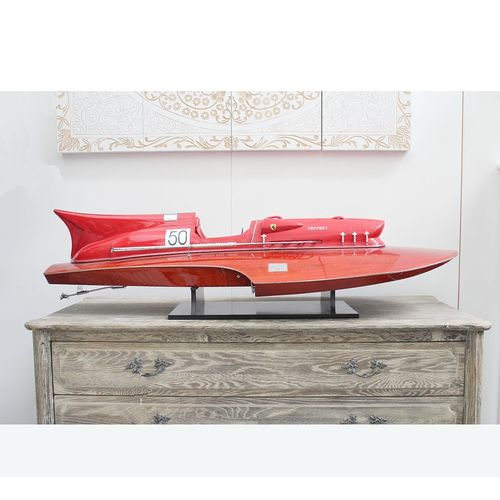 Migani ITALY Ferrari hydroplane in red painted wood  Hand-crafted 80 cm