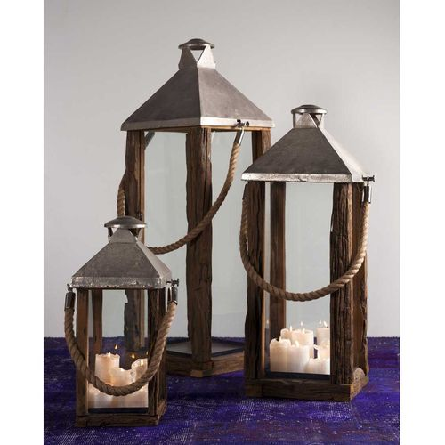 Migani ITALY Jaipur old wood lantern with rope handle 55 cm