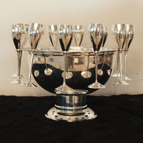 Migani ITALY CHAMPAGNE BOWL WITH RING AND 12 GLASSES SMALL