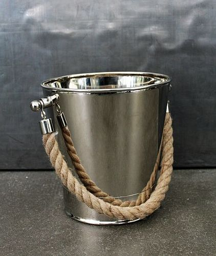 Migani ITALY  METAL ICE BUCKET WITH ROPE HANDLES