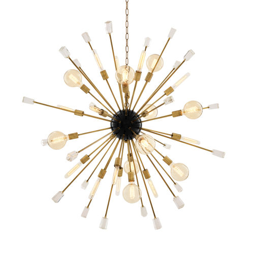Eichholtz Chandelier Tivoli L * Clear glass | black finish | brass finish