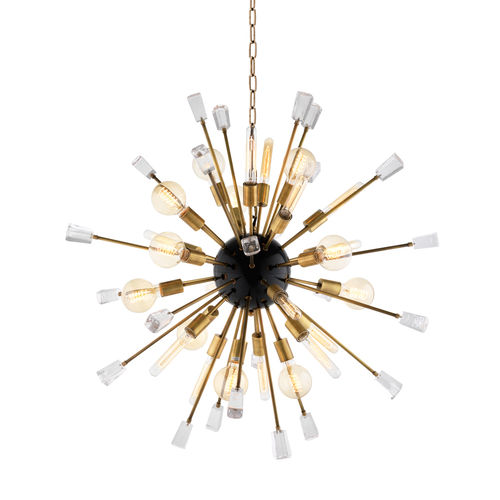 Eichholtz Chandelier Tivoli S * Clear glass | black finish | brass finish