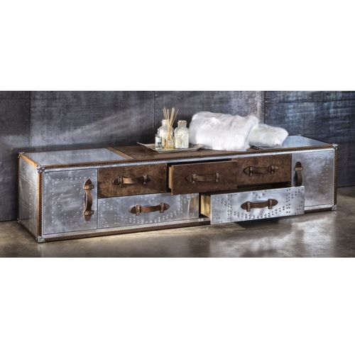 Migani ITALY ALUMINIUM AND LEATHER TV STAND b220 cm