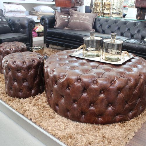 Migani ITALY LEATHER QUILTED POUF OTTOMAN 45 cm