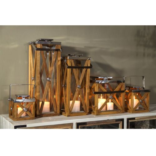 Migani ITALY CROSS WOOD LANTERN  h21