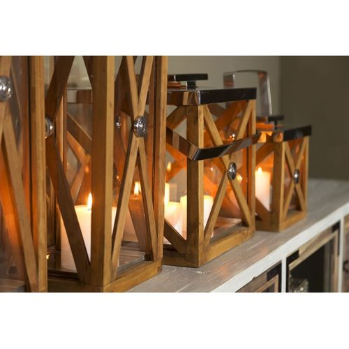 Migani ITALY CROSS WOOD LANTERN  h28 cm