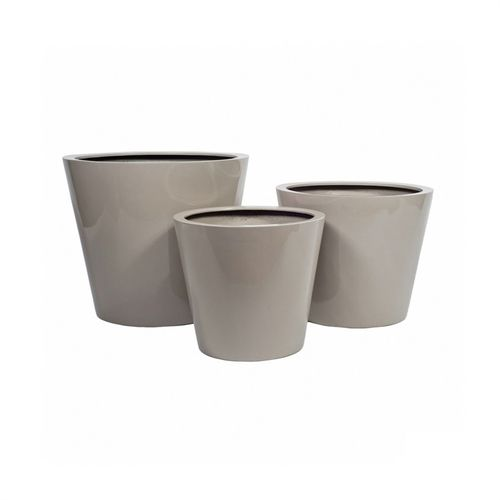 Pottery Pots, Round Basic, Bucket, Glossy Sand, Set of 3
