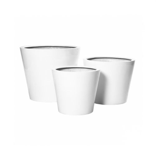 Pottery Pots, Round Basic, Bucket, Glossy White, Set of 3
