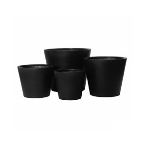 Pottery Pots, Round Basic, Bucket, Fiberstone Black, Set of 4
