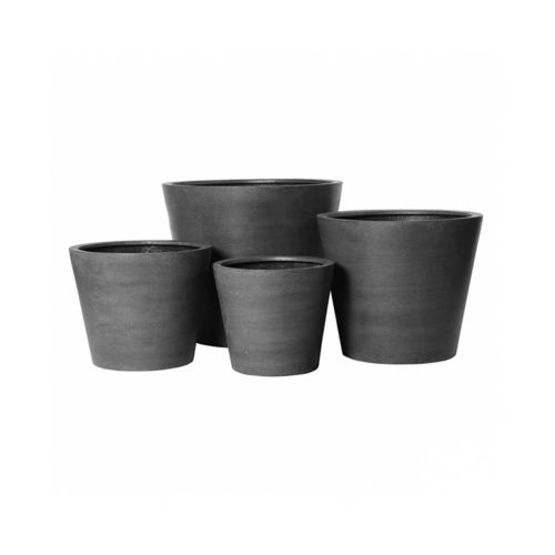 Pottery Pots, Round Basic, Bucket, Fiberstone Grey, Set of 4
