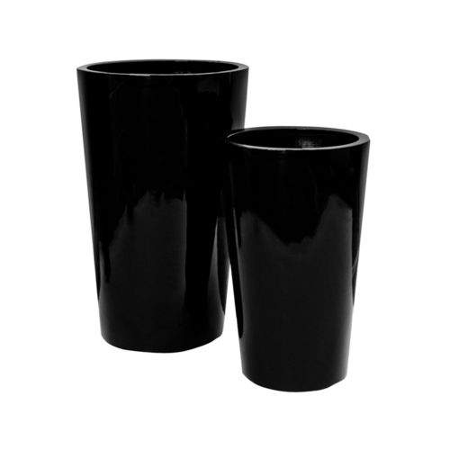 Pottery Pots, Round Basic, BELLE, Fiberstone Glossy Black, Set of 2