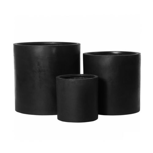 Pottery Pots, Round Basic, MAX Fiberstone Black, Set of 3