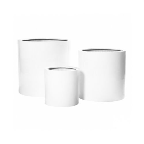 Pottery Pots, Round Basic, MAX Fiberstone Glossy White, Set of 3