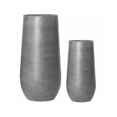 Pottery Pots, Round Basic, NAX Set of 2, Fiberstone Grey