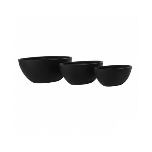 Pottery Pots, Round Basic, DRAX Set of 3, Fiberstone Black