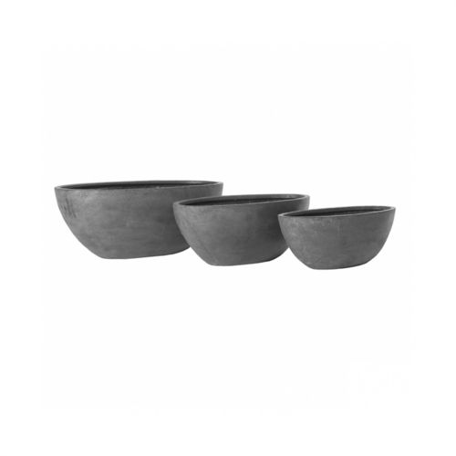 Pottery Pots, Round Basic, DRAX Set of 3, Fiberstone Grey