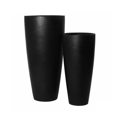 Pottery Pots, Round Basic, DAX Set of 2, Fiberstone Black 80+100 cm