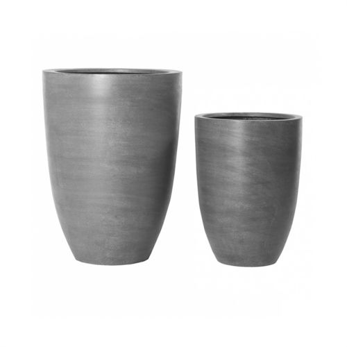 Pottery Pots, Round Basic, BEN Set of 2, Fiberstone Grey 55+72 cm