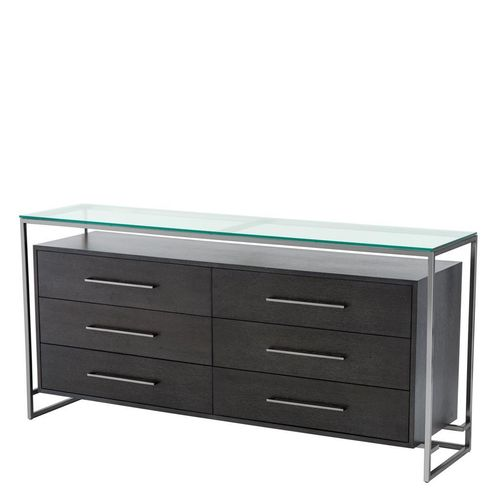 EICHHOLTZ Dresser Durand * Black nickel finish | charcoal oak veneer