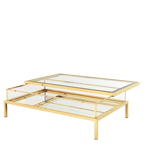 EICHHOLTZ Coffee Table Harvey rectangular * Gold finish | clear glass | mirror glass