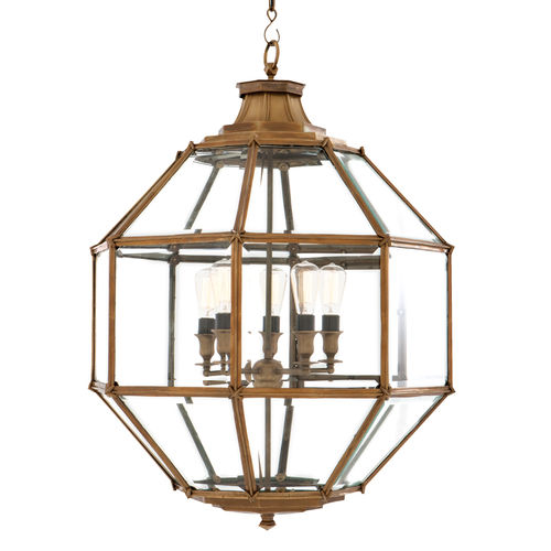 EICHHOLTZ Lantern Owen L Vintage brass finish | bevelled glass