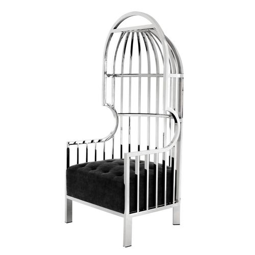 EICHHOLTZ Chair Bora Bora * Polished stainless steel | black velvet