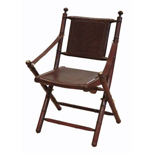 EICHHOLTZ Folding Chair Bolsena * Teak wood | brown leather