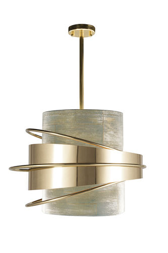 "Green Apple Suspension Lamp ""Enlace"" gold-white"