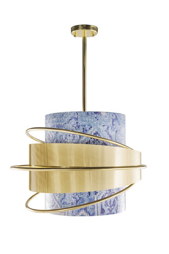 "Green Apple Suspension Lamp ""Enlace"" gold-blue"