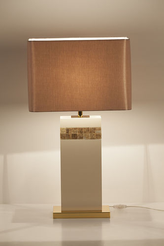 "Green Apple Table Lamp w/Shade ""Oceanus"" white-gold"