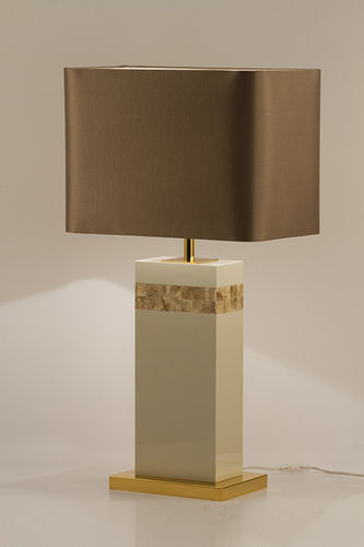"Green Apple Table Lamp w/Shade ""Oceanus"" white-gold-beige"