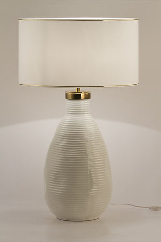 "Green Apple Table Lamp w/Shade ""Candeias"" L white"
