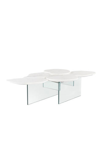 "Green Apple Coffee Table ""Infinity"" white glass"