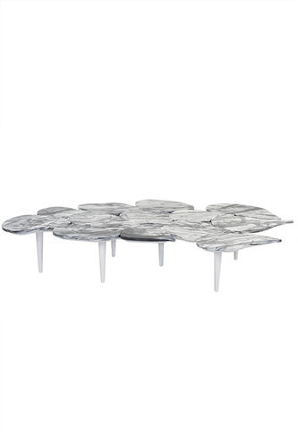 "Green Apple Coffee Table ""Infinity"" Black Balanta Marble"