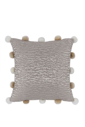 "Green Apple Square Pillow w/Mink Pompoms ""Ives"""