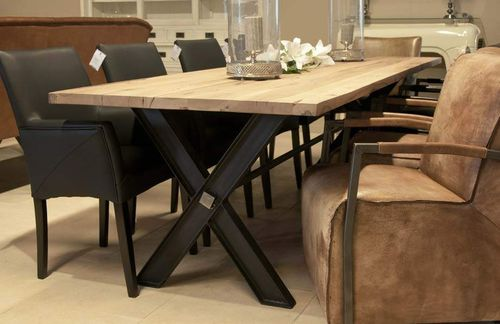 Hazenkamp Diningtable Iron X 200cm oak - natur effect