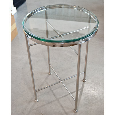 Hazenkamp Round Side Table with Glass 51x70 cm