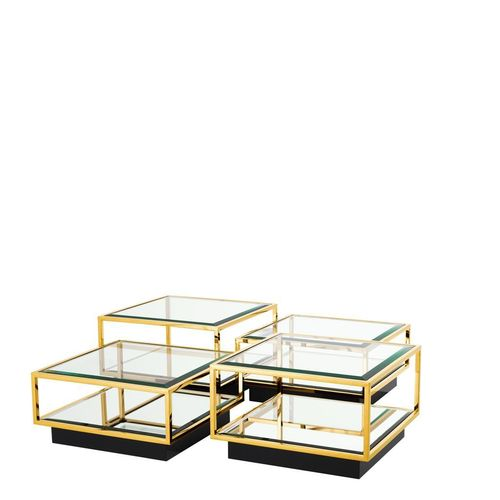 Coffee Table Tortona set of 4 gold finished