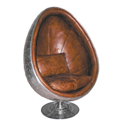Hazenkamp Egg Chair Airplane Furniture Alu/leather brown