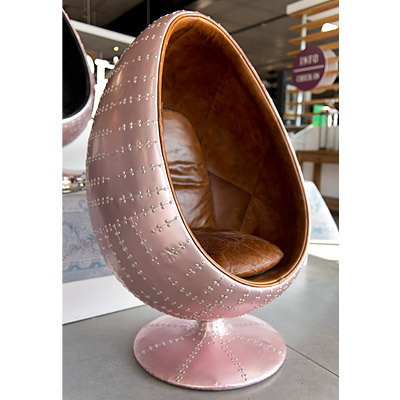 Hazenkamp * EGG Chair 90x86x138 cm Copper Antic / Leather Brown * Airplane Furniture
