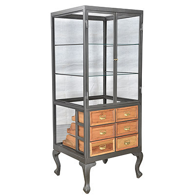 Hazenkamp INDUSTRIAL * Display Cabinet with Drawers 71x66x183 cm