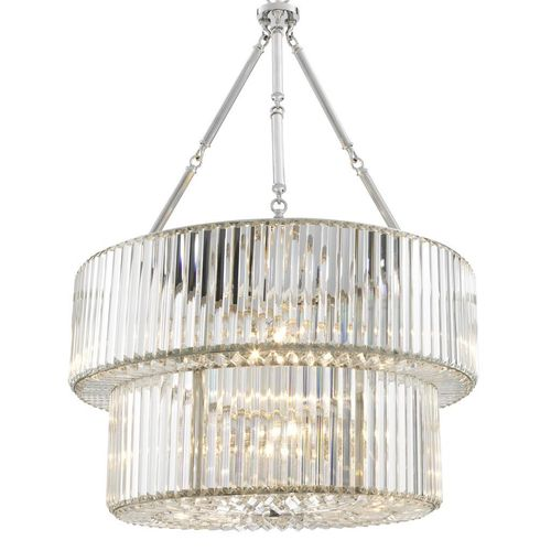 EICHHOLTZ Chandelier Infinity Double Nickel finish | crystal glass