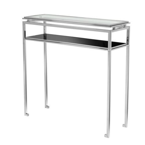 EICHHOLTZ Console Table Calvin S Polished stainless steel | black glass