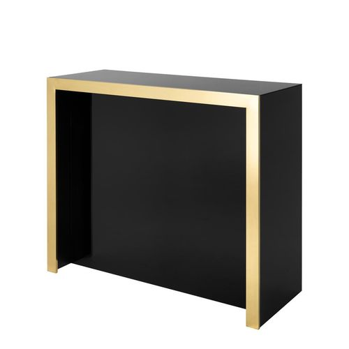 EICHHOLTZ Bar Grimaldi Gold finish | black glass