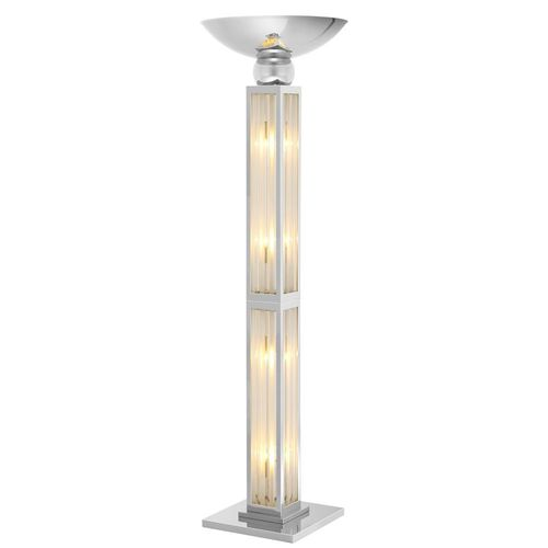 EICHHOLTZ Floor Lamp Dorrell * Nickel finish | clear glass | frosted glass