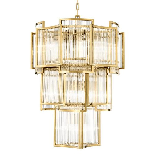 EICHHOLTZ Chandelier Jet Set * Gold finish | clear glass