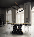 BOCA DO LOBO * Newton DINING TABLE 142x260 cm black & gold * 470 kg
